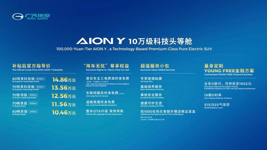 """""""10万级科技头等舱""""AION Y深圳上市 补贴后售价10.46万元起"""
