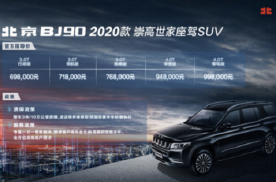 升级国6换装9AT变速箱 2020款北京BJ90上市售69.