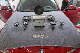 台州宝马3系汽车音响改装黄金声学功放,古桐超低音