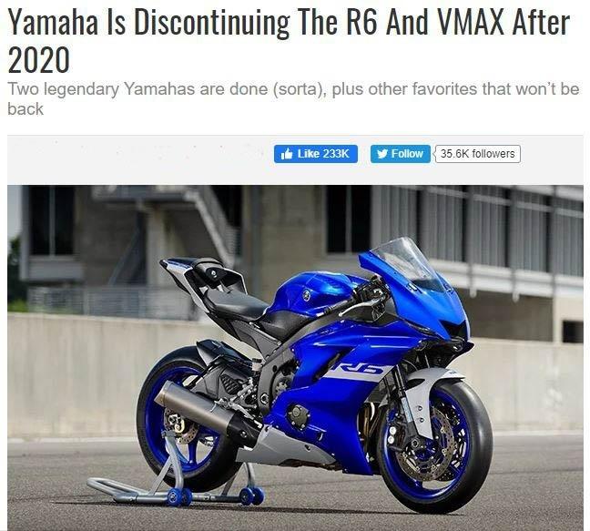 雅马哈YZF-R6即将停产 未来只提供R6 Race版本-爱卡汽车爱咖号