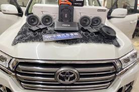 哈尔滨丹拿汽车音响,酷路泽前后升级两分频+超低音+功放