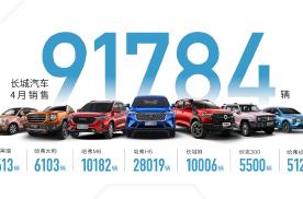 五大品牌领航出击 长城汽车4月销售9.2万辆 同比劲增14%