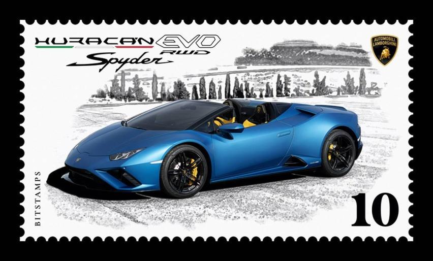 01 - 兰博基尼汽车公司与Bitstamps公司合作发布首枚数字邮票 主题为Huracán EVO后驱敞篷版.jpg