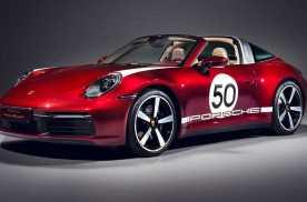 2021款保时捷911 4S Targa特别版樱桃红色亮相