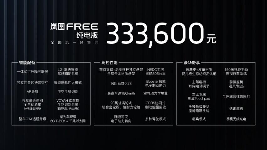 性能级中大型智能电动SUV 岚图FREE预售价31.36万起