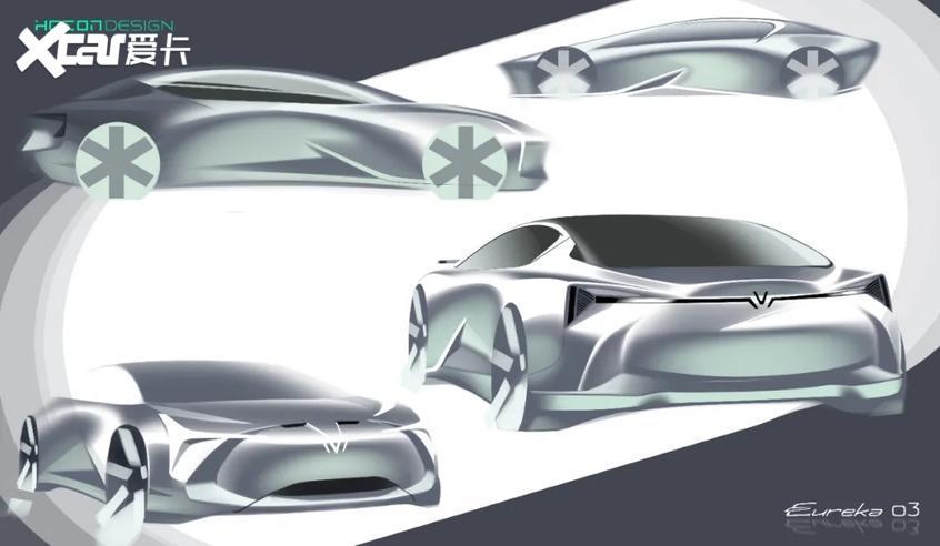 哪吒全新概念车预告图 于北京车展亮相