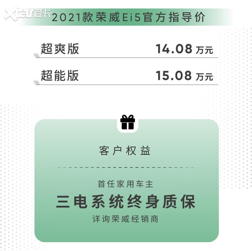 2021款荣威Ei5正式上市 售14.08万元起